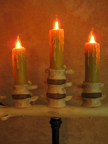 spine bone candelabra w five flicker candles halloween haunt prop new ebay. Black Bedroom Furniture Sets. Home Design Ideas