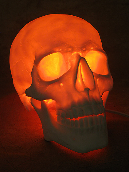Lighted Two Piece Skull Display, Life-Size Skull