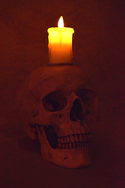 Skull Display w/ Flameless Candle