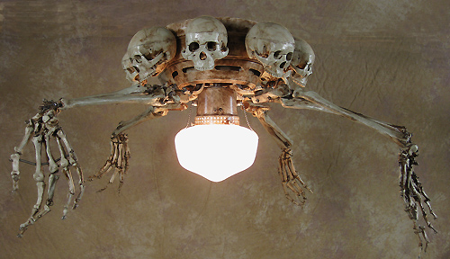 Ceiling Fan With Skeleton Arms Skulls And Light Fan 200
