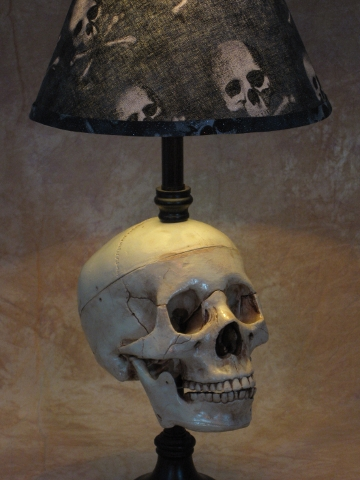 Desk Lamp with Life-size Skull and Bone Shade