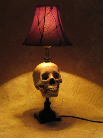 Desk lamp with life size skull and antique shade lamp 100a desk lamp with life size skull and antique shade aloadofball Image collections