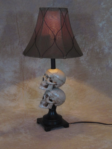 Desk Lamp with 2 Mini-Skulls and Antique shade