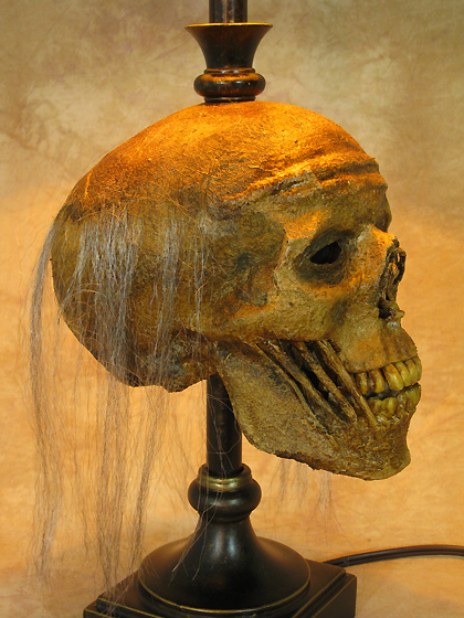 Desk Lamp with Life-size Corpse Head and Antique Shade