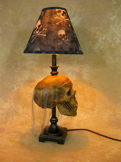 Desk Lamp with Life-size Corpse Head and Bone Shade