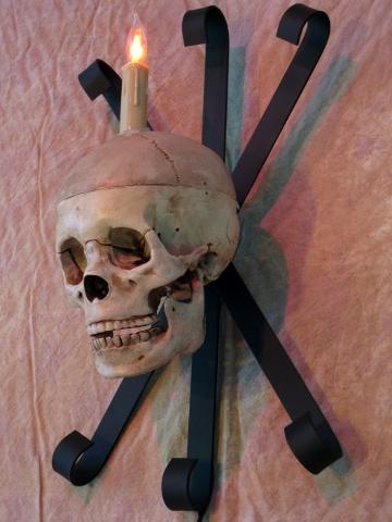 Skull Wall Sconce, No LED Eye Lights