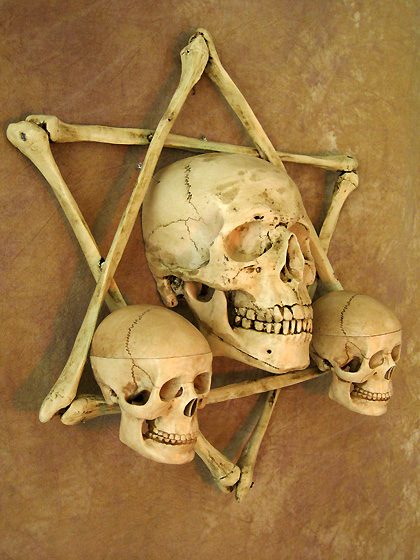 Hexagram Bone Frame w/ Skull & Two Small Skulls, No Candles