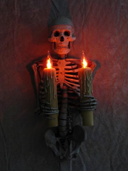 Halloween Wall Lights : Skeleton Torso Wall Sconce holding Candles, Skull, Halloween Prop eBay