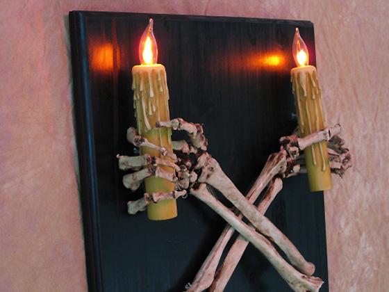 Halloween Wall Lights : Skeleton Arms Wall Sconce, Skull, Halloween Prop eBay