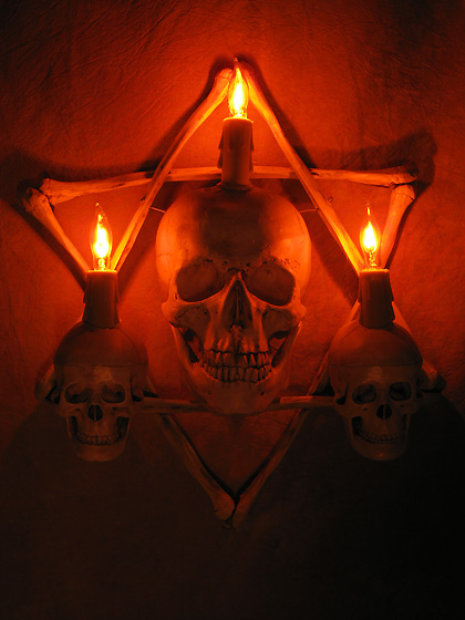 Hexagram Bone Frame with Life-Size Skull and Two Small Skulls