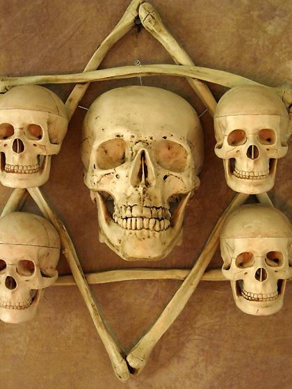 Hexagram Bone Frame with Life-Size Skull and Four Small Skulls