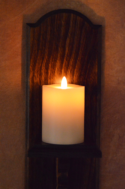 Classic Wood Wall Sconce w/ Ivory Flameless Candle