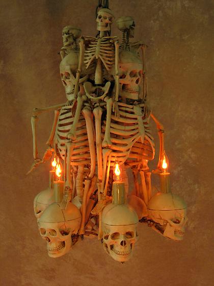 Skeleton Chandelier  Halloween Prop  Human Skeletons