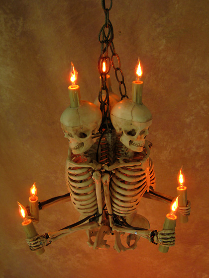 Skeleton Chandelier, Three Harvey Jr. Skeletons Holding Candles