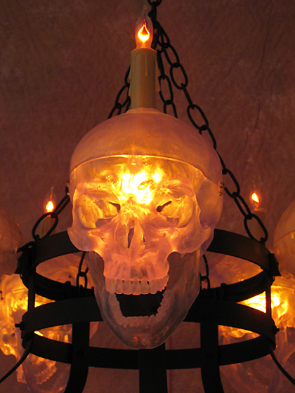 Life Size Skull Metal Chandelier With Five Clear Skulls