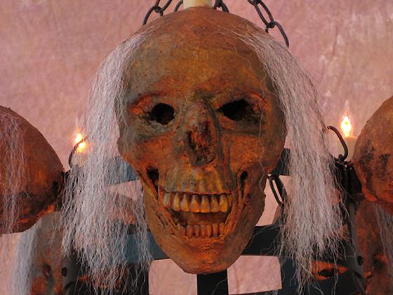 Life-Size Skull/Metal Chandelier with Five Corpsed Skulls