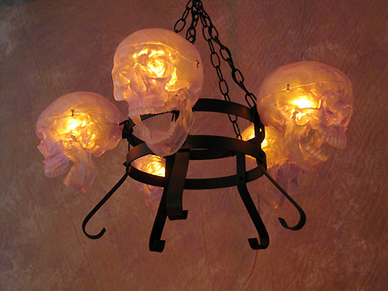 Life-Size Skull/Metal Chandelier w/Five Clear Skulls No Candles