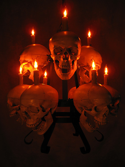 Two Tiered Skull / Metal Chandelier with Nine Life-Size Skulls