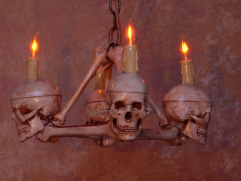 Skull femur bone chandelier with four small skulls skul 200m skull femur bone chandelier with four small skulls mozeypictures Choice Image