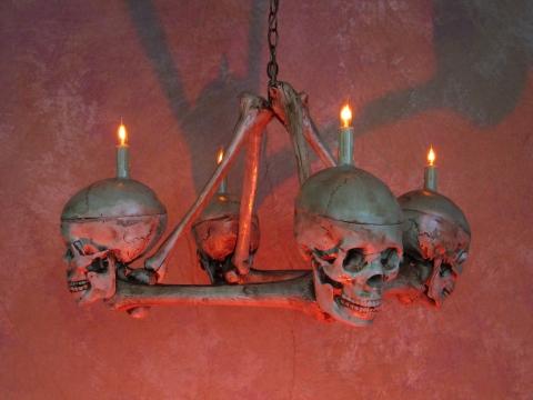 Skull / Femur Bone Chandelier w/ Four Life-Size Skulls