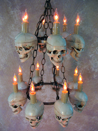 Two-tiered Medium Skull Chandelier
